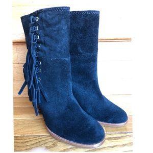 NEW 5 COACH Heel Short Boots Booties Suede